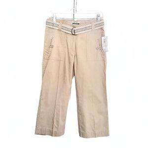 Midtown Khaki Beige Cropped 3/4 Capri Cargo Pants